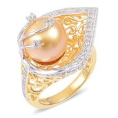 Deepak's Dazzling Deals South Sea Golden Pearl (10-11 mm), White Zircon 14K YG and Platinum Over Sterling Silver Leaf Ring (Size 5.0) TGW 0.50 cts.
