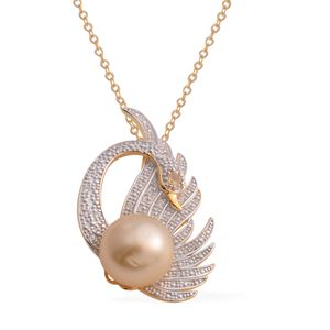 South Sea Golden Pearl (9.5-10 mm), Brazilian Citrine, White Zircon 14K YG Over Sterling Silver Swan Pendant With Chain (18 in) TGW 0.14 cts.