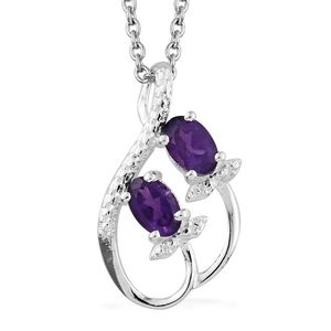 Amethyst Sterling Silver Pendant With Stainless Steel Chain (20 in) TGW 0.75 cts.