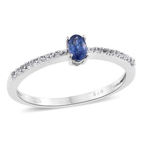 Ceylon Blue Sapphire, White Topaz Platinum Over Sterling Silver Ring (Size 7.0) TGW 0.46 cts.