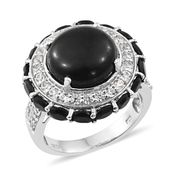 Shungite, Thai Black Spinel, Cambodian Zircon Platinum Over Sterling Silver Ring (Size 6.0) TGW 12.48 cts.