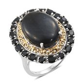 Shungite, Thai Black Spinel 14K YG and Platinum Over Sterling Silver Ring (Size 7.0) TGW 15.55 cts.