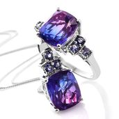 Midnight Fuchsia Quartz, Catalina Iolite Platinum Over Sterling Silver Ring (Size 11) and Pendant With Chain (20 in) TGW 13.06 cts.