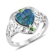 Australian Mosaic Opal, Russian Diopside Platinum Over Sterling Silver Openwork Heart Ring (Size 9.0) TGW 1.97 cts.