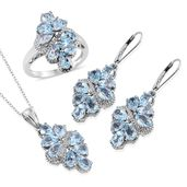 Customer Appreciation Deal Sky Blue Topaz Platinum Over Sterling Silver Earrings, Ring (Size 5) and Pendant With Chain (20 in) TGW 15.06 cts.