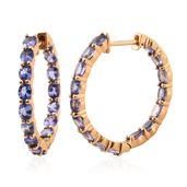 Srikant's Showstopper Tanzanite 14K YG Over Sterling Silver Inside Out Hoop Earrings TGW 4.75 cts.