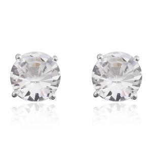 White Austrian Crystal Sterling Silver Stud Earrings