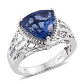 Color Change Fluorite, White Topaz Platinum Over Sterling Silver Ring (Size 10.0) TGW 7.37 cts.