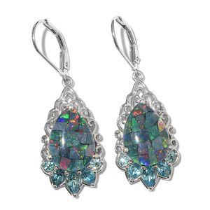 Australian Mosaic Opal, Electric Blue Topaz Platinum Over Sterling Silver Lever Back Earrings TGW 9.20 cts.