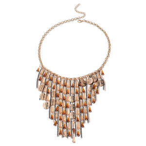 Brown and Champagne Simulated Crystal Dualtone & Iron Fringe Necklace (22 in)