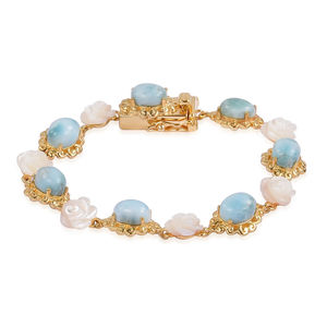 Larimar, White Mother of Pearl 14K YG Over Sterling Silver Bracelet (6.50 In) TGW 23.50 cts.
