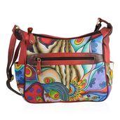 SUKRITI -Genuine Leather Red Handpainted Peacock Inspired Handbag (13.5x4.5x12 in)
