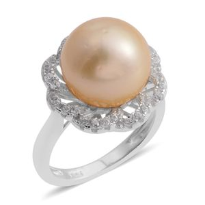 South Sea Golden Pearl (11-12 mm), White Zircon Platinum Over Sterling Silver Floral Ring (Size 8.0) TGW 0.50 cts.