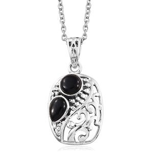 Artisan Crafted Black Onyx Sterling Silver Openwork Pendant With Stainless Steel Chain (20 in) TGW 0.58 cts.