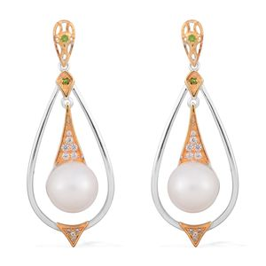 White South Sea Pearl (10-10.5 mm), Russian Diopside, White Zircon 14K YG and Platinum Over Sterling Silver Dangle Earrings TGW 0.40 cts.