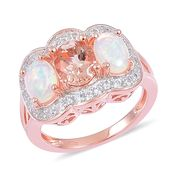 Marropino Morganite, Ethiopian Welo Opal, White Zircon 14K RG Over Sterling Silver Split Shank Ring (Size 6.0) TGW 2.65 cts.