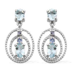 AAA Espirito Santo Aquamarine, Tanzanite Platinum Over Sterling Silver Earrings TGW 1.49 cts.