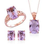 Rose De France Amethyst 14K RG Over Sterling Silver Earrings, Ring (Size 11) and Pendant With Chain (18 in) TGW 15.96 cts.