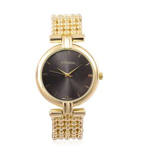 STRADA Japanese Movement Water Resistant Watch in Goldtone with Stainless Steel Back