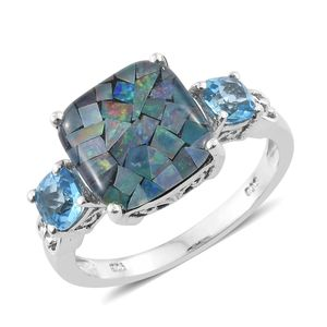 Australian Mosaic Opal, Electric Blue Topaz Platinum Over Sterling Silver Ring (Size 7.0) TGW 6.52 cts.