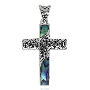 Bali Legacy Collection Abalone Shell Sterling Silver Cross Pendant without Chain