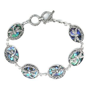 Bali Legacy Collection Abalone Shell Sterling Silver Dragonfly Toggle Clasp Bracelet (7.50 In)