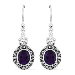 Artisan Crafted Amethyst Sterling Silver Earrings TGW 4.80 cts.