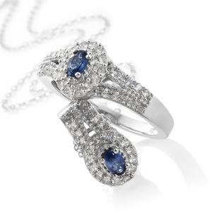Ceylon Blue Sapphire, Cambodian Zircon Platinum Over Sterling Silver Ring (Size 5) and Pendant With Chain (20 in) TGW 1.70 cts.