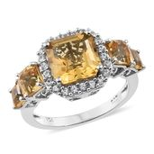Asscher Cut Brazilian Citrine, Cambodian Zircon Platinum Over Sterling Silver Ring (Size 6.0) TGW 5.68 cts.