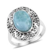 Larimar Sterling Silver Openwork Ring (Size 5.0) TGW 6.56 cts.
