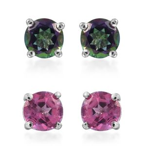 Set of 2 Northern Lights Mystic Topaz, Pure Pink Mystic Topaz Stainless Steel Stud Earrings TGW 2.45 cts.