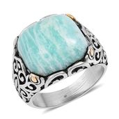Russian Amazonite Black Oxidized, ION Plated YG and Stainless Steel Ring (Size 6.0) TGW 15.00 cts.
