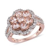 Marropino Morganite, Cambodian Zircon Vermeil RG Over Sterling Silver Floral Split Ring (Size 5.0) TGW 3.50 cts.
