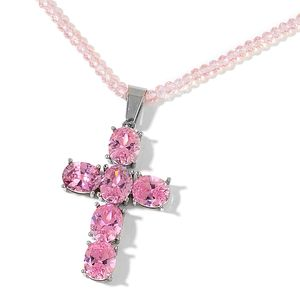 Pink Glass, Simulated Pink Diamond Stainless Steel Cross Pendant With Necklace (20 in) TGW 39.00 cts.
