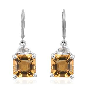 Asscher Cut Brazilian Citrine, White Topaz Platinum Over Sterling Silver Lever Back Earrings TGW 3.96 cts.