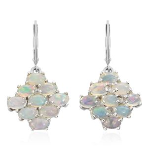Ethiopian Welo Opal Platinum Over Sterling Silver Lever Back Earrings TGW 3.00 cts.