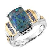 Australian Mosaic Opal, Tanzanite 14K YG and Platinum Over Sterling Silver Ring (Size 7.0) TGW 5.00 cts.