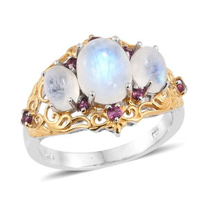 Rainbow Moonstone, Orissa Rhodolite Garnet 14K YG and Platinum Over Sterling Silver Ring (Size 7.0) TGW 6.74 cts.