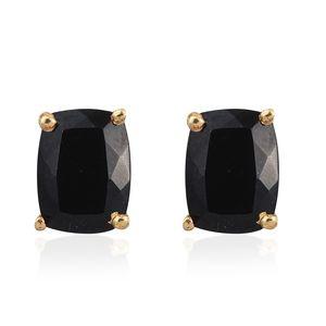 Australian Black Tourmaline 14K YG Over Sterling Silver Stud Earrings TGW 2.86 cts.