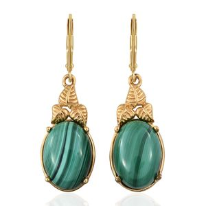 KARIS Collection - African Malachite ION Plated 18K YG Brass Earrings TGW 18.20 cts.