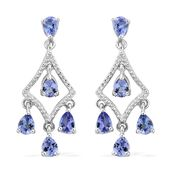 Premium AAA Tanzanite Platinum Over Sterling Silver Chandelier Earrings TGW 1.52 cts.