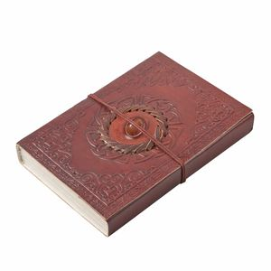 Handmade Paper Diary with Genuine Leather Cover and Carnelian Gemstone (7x5 in)