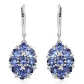 Premium AAA Tanzanite Cambodian Zircon Platinum Over Sterling Silver Earrings TGW 3.16 cts.