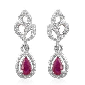 Burmese Ruby, Cambodian Zircon Platinum Over Sterling Silver Drop Earrings TGW 0.65 cts.