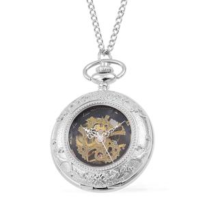 GENOA Miyota Japanese Movement Silvertone Mechanical Pocket Watch with Chain (32 in)