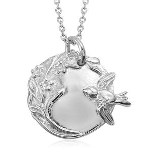 Artisan Crafted Sterling Silver Floral Bird Pendant With Stainless Steel Chain (20 in) (11.1 g)