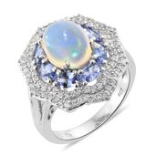 Ethiopian Welo Opal, Tanzanite, Cambodian Zircon Platinum Over Sterling Silver Ring (Size 11.0) TGW 5.72 cts.
