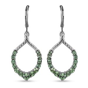 Stainless Steel Lever Back Drop Earrings Made with SWAROVSKI Peridot Crystal