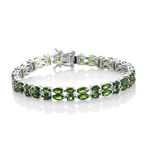 Russian Diopside Platinum Over Sterling Silver Bracelet (7.50 In) TGW 15.76 cts.