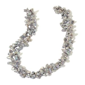 Keshi Gray Pearl Sterling Silver Necklace (18 in) TGW 305.00 cts.